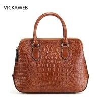 Brand Genuine Leather Bags For Women Handbag Crocodile Pattern Ladies Shoulder Bags Luxury Real Leather Handbags