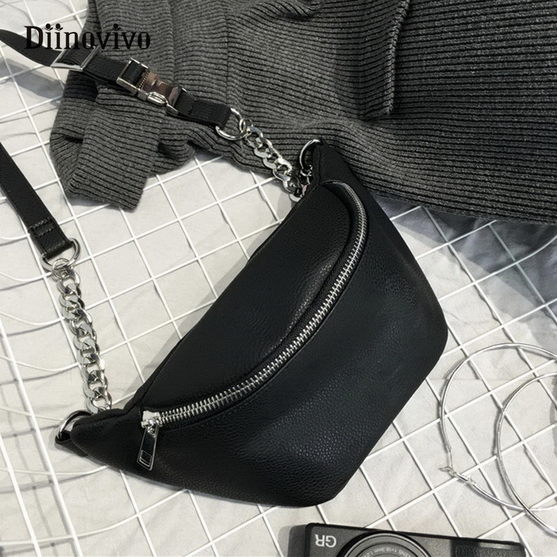 DIINOVIVO Fashion Chain Fanny Pack Banana Waist Bag New Brand Belt Bag Women Waist Pack PU Leather Chest Bag Belly Bag WHDV0462
