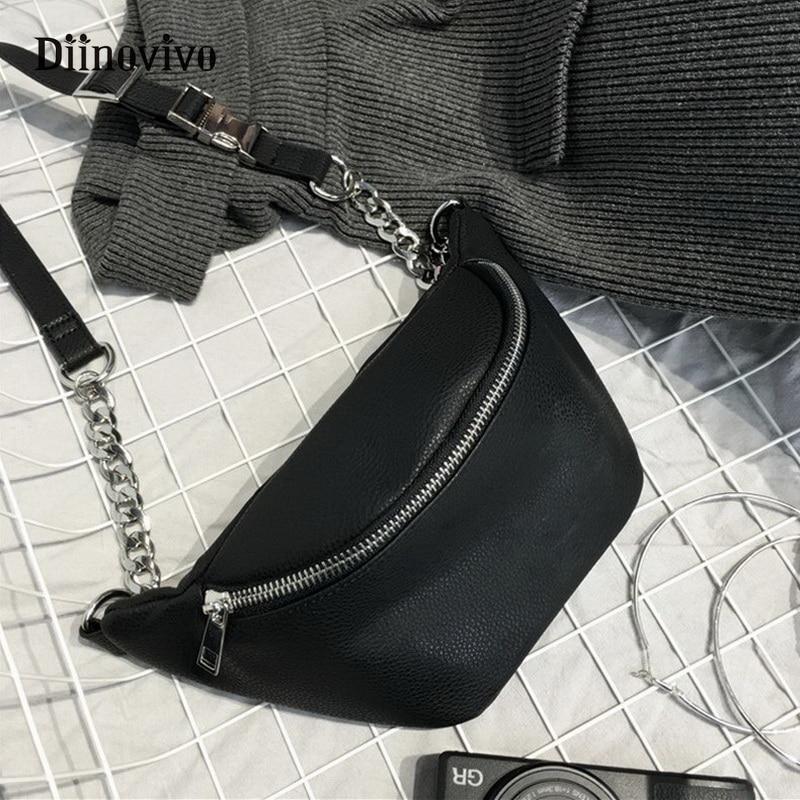 DIINOVIVO Fashion Chain Fanny Pack Banana Waist Bag New Brand Belt Bag Women Waist Pack PU Leather Chest Bag Belly Bag WHDV0462