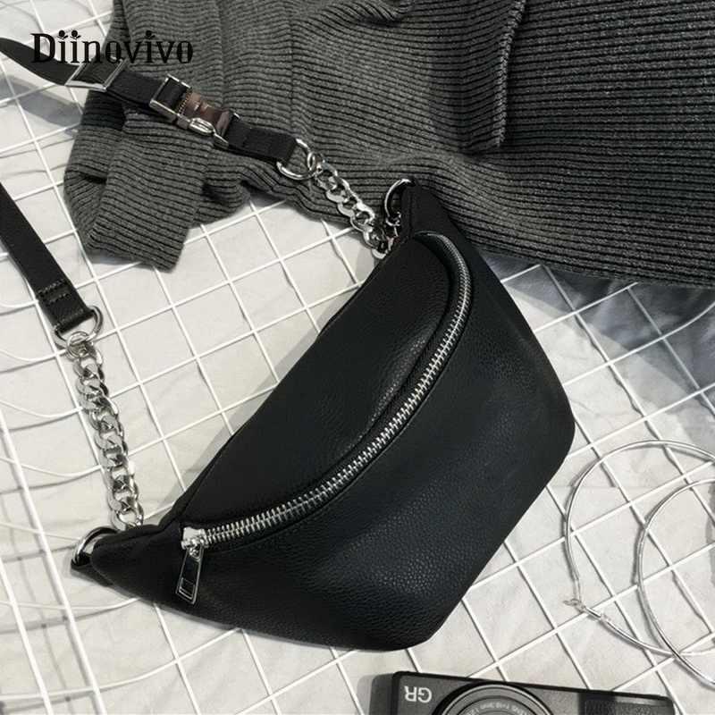 DIINOVIVO cadena de moda riñonera bolsa de cintura de plátano nueva marca bolsa de cinturón para mujer bolsa de pecho de cuero PU bolsa de vientre WHDV0462