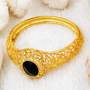 Image 3 - ดูไบเครื่องประดับชุดแฟชั่นผู้หญิง 24 GOLD ชุดเครื่องประดับคริสตัลสีดำสร้อยคอแหวนต่างหูแอฟริกันเจ้าสาวงานแต่งงานเครื่องประดับ