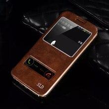 Роскошь в Исходном SLD Кожа Ультра Тонкий Раскладной Стенд Крышка Окно Просмотра Задняя чехол Для Samsung Galaxy S6 S7 Края и S8 S6 Край Плюс