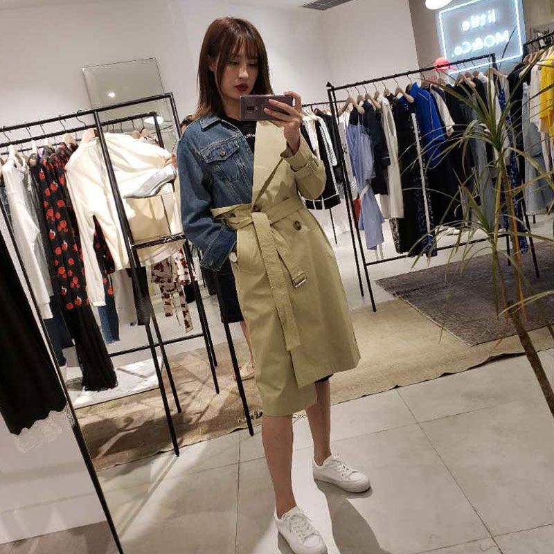 2018 New Women Denim Patchwork   Trench   claasic Khaki Turn Down Collar Belt Knee Length   Trench   Casaco Feminino WomenCoats