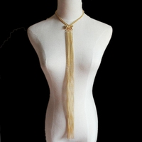 CirGen Fashion Gold Color Long Body Choker Multi Layer Chains Tassel Beads Pendant Women Collar Statement