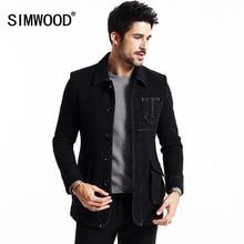 SIMWOOD Новые Зимние длина Пальто Мужчины Мода Mix шерсть Jaket Теплые Марка Одежды DY1519
