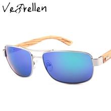 VeBrellen Fashion Bamboo Sunglasses Men Designer Oversized Mirror UV400 Wooden Pilot Sun Glasses Goggles lunette oculos VJ074
