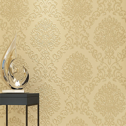 Europe DAMASK Wallpaper Roll Thick Non-woven Embossed TV Background Wall Papers Living Room Bedroom Home Decor Light Yellow milan classical wall papers home decor non woven wallpaper roll embossed simple light color living room wallpapers wall mural