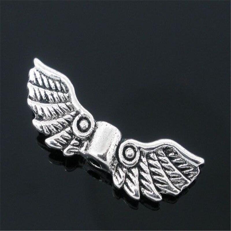 Дорин Бусины розничная продажа 50 старинное серебро Angel Wing Шарм распорки Бусины 22×7 мм