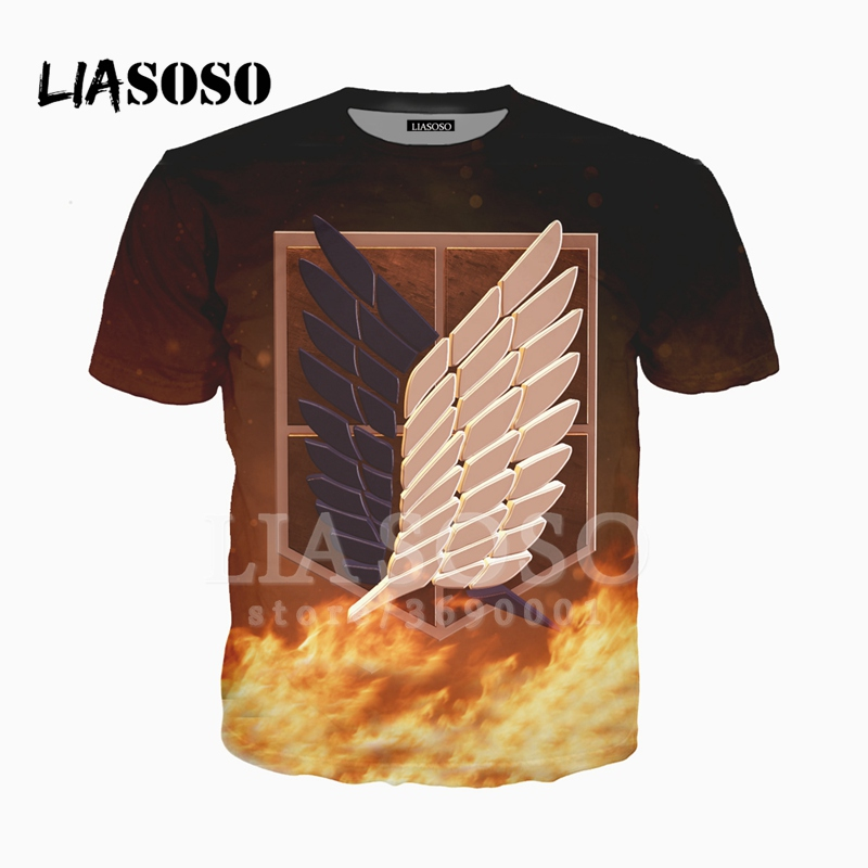 LIASOSO 3D Print Unisex Anime Attrack On Titan Wings of Freedom Tshirt Summer T-shirt Hip Hop Pullover Short Sleeve X2425