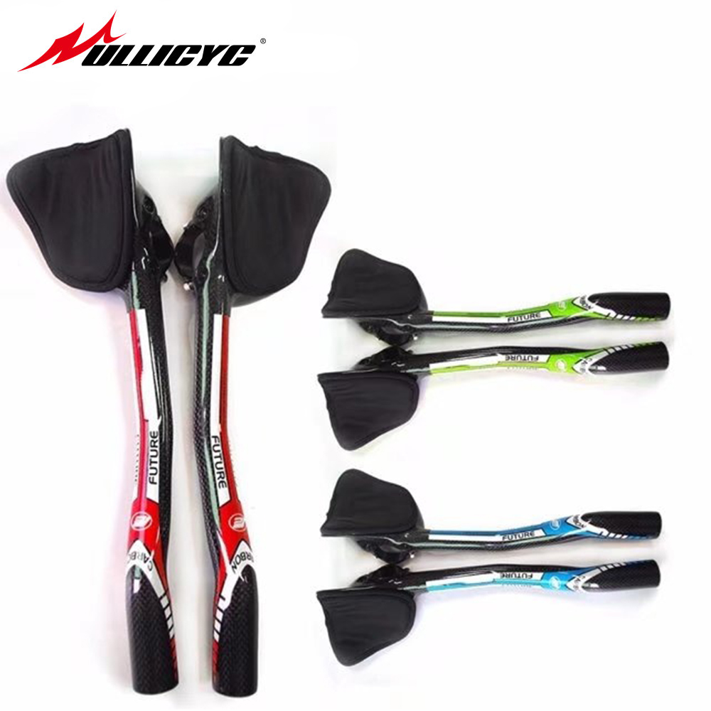 New Future Red Road Bike Trial Triathlon Full Carbon Fibre Bicycle Extended TT Style Rest Handlebars