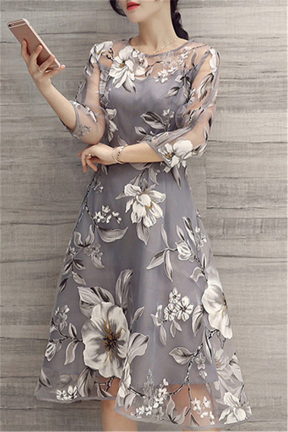 56303c1b3a1 Long Sleeve 2018 Summer Women Floral Print A-line Mesh Dress Vintage Party  O Neck