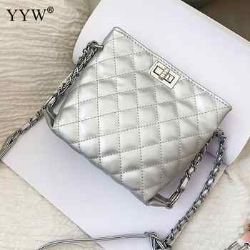 2018 Hot Sale Female Leather Bags For Women Yellow White Ladies Small Lock Chain Mini Crossbody Shoulder Bags Bolsos Mujer New