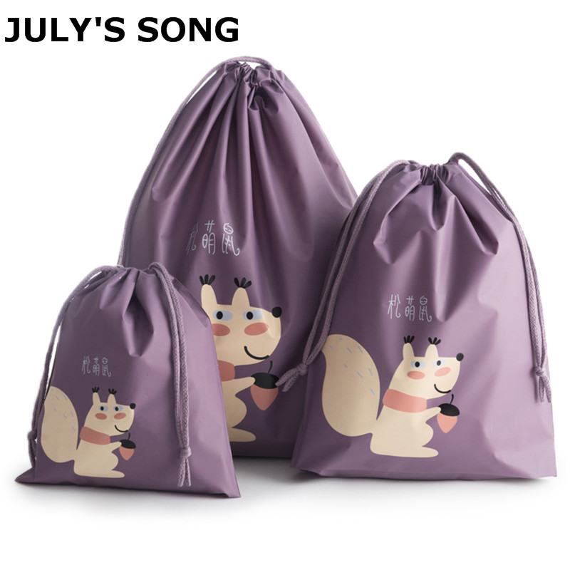 JULY'S SONG 3PCS Animal Printing Travel Bag Set Storage Organizer For Cloth Socks Travel Accessories Drawspring Pouch Bags