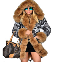 9d9a49dd585f4 Roiii Thickened Warm Brown camouflage Faux Fur Fashion Warm Parka Women  Hooded Long Winter Jacket Coat Overcoat Size S-M XL 3XL
