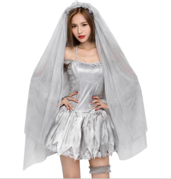 sexy Ghost Bride Costume Halloween Adult Women Scary Ghost Bride Cosplay Uniform Fantasia Fancy Dress short dresses A081
