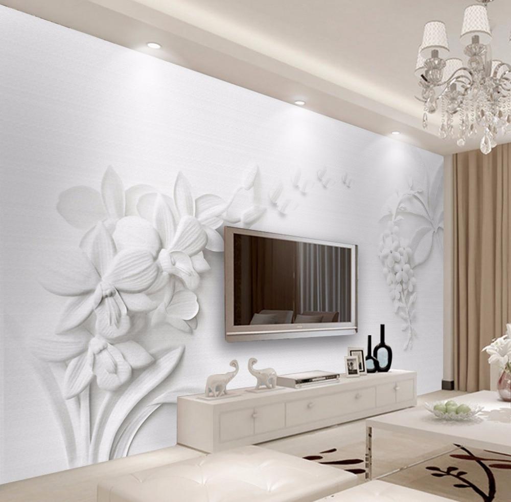 Bacaz Living Room HD Embossed White Flowers Wallpaper