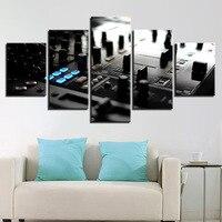 Cartazes Da Arte Da Parede da lona Quadro HD Imprime Fotos 5 Peças de Música Instrumento Consola DJ Mixer Pinturas Sala de estar Bar Decor