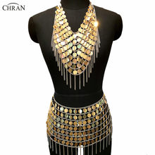 Chran Laser Pailletten Zeemeermin Jurk Chainmail Bralette Harness Ketting Festival Bra Crop Top Burning Man Dragen Sexy Ibiza Rok(China)