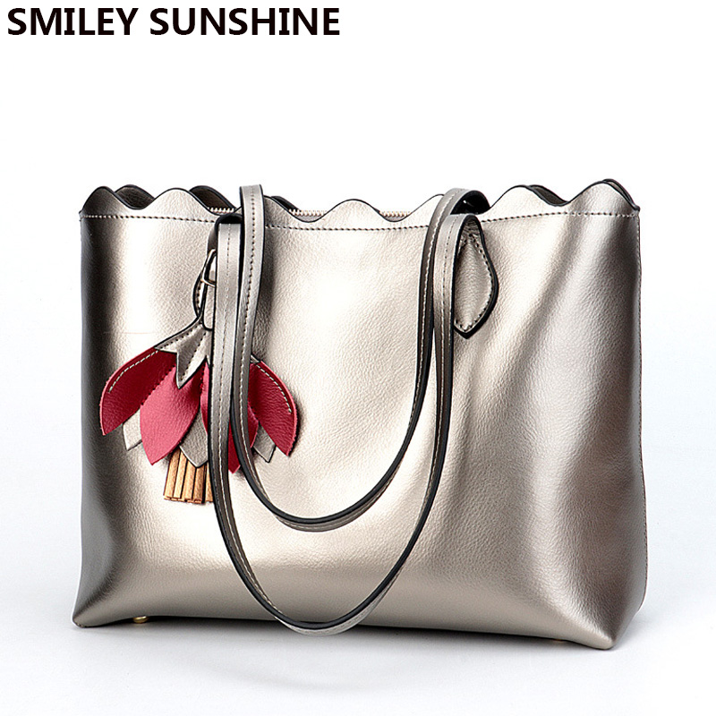 SMILEY SUNSHINE Ladies Genuine Leather Bags Women Leather Handbags Female Big Shoulder Bags Silver Flower Ladies