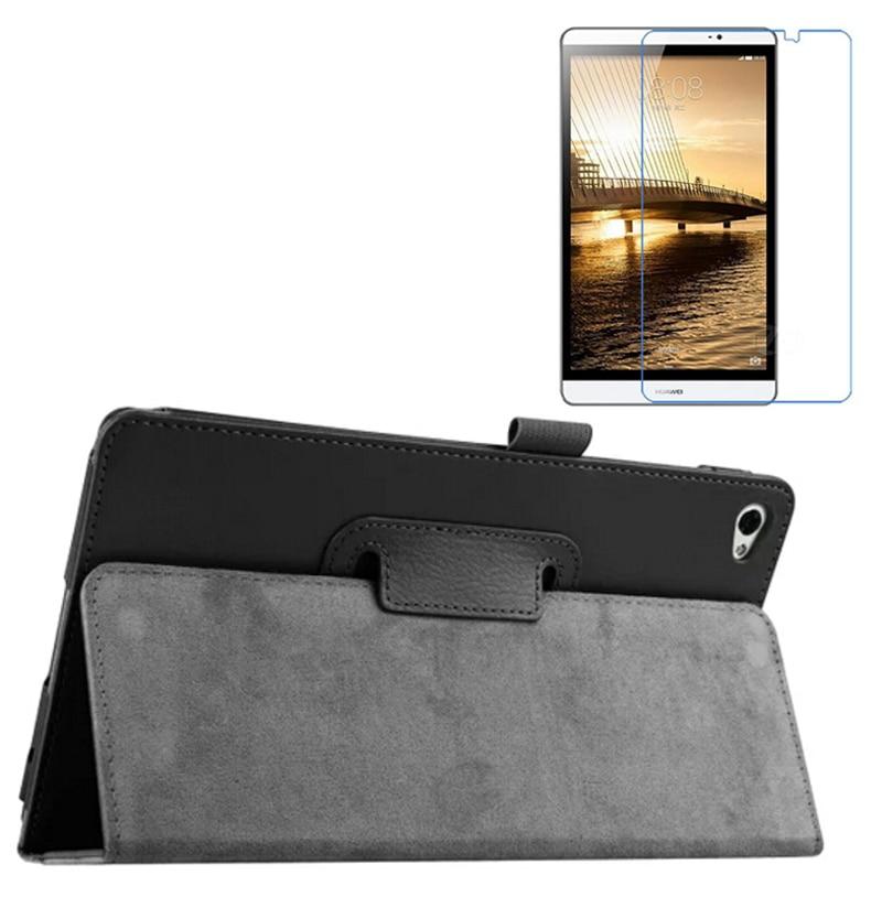 "1x Clear Screen Protector, Lyx Folio Stativhållare Läderfodral För Huawei MediaPad M2 8,0 M2-801W M2-801U M2-803L 8 """