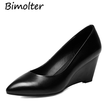 Bimolter Female Four Seasons Genuine Cow Leather Pumps Wedges Heels Women Handmade Black Comfortable Work Office Shoes LCWA006