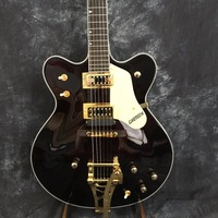 Human Custom Black / White Gretsch Falcon 6120 Semi Hollow Body Jazz Electric Guitar with gold Bigsby Tremolo