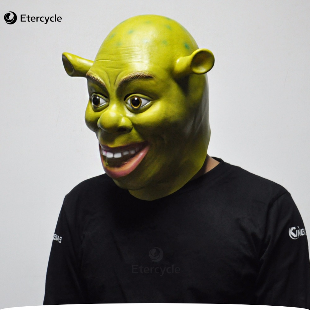 Хэллоуин реквизит взрослых шрек маски животных полный латекс маскарад день рождения ну вечеринку резиновые силиконовые зеленый косплей фильм маска