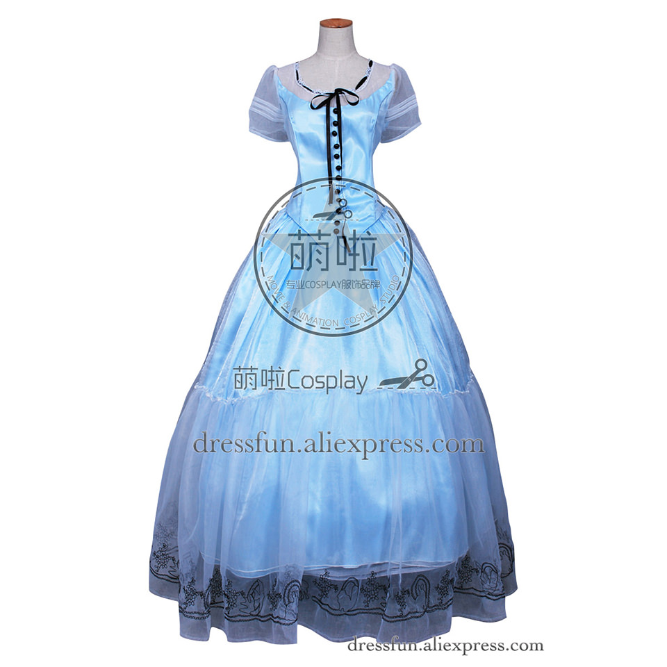 Alice In Wonderland Cosplay Alice Costume Blue Long Formal Dress Halloween Beautiful Fast Shipping Comfortable Clothing