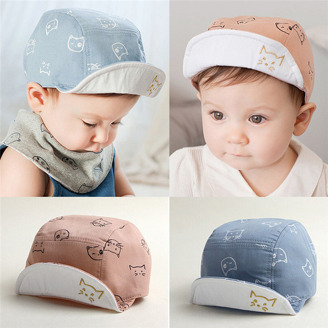 91c90853c US $1.2 36% OFF|Cute Infant Baby Hat Unisex Baby Boys Girls Caps Sunhat  Kids Summer Comfortable Bongrace HatCat Kitten Cartoon Print Peak Cap-in  Hats ...