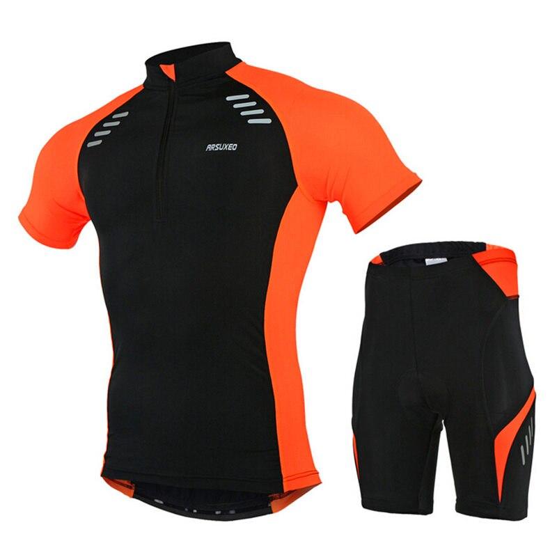 Prix pour ARSUXEO 6015 Nouvelle Hommes D'été Manches Courtes Vélo Maillot Set VTT Vélo Vélo de Route de La Ville Débarrasser Vêtements Chemise Shorts costume