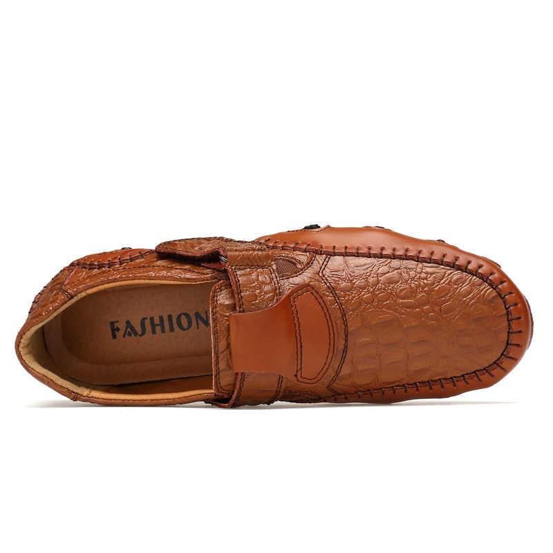 2019 erkek ayakkabısı Deri Casual Lüks Loafer'lar Erkek Yumuşak Daireler Üzerinde Kayma Moccasins Nefes Moda sürüş ayakkabısı Büyük Boy 48