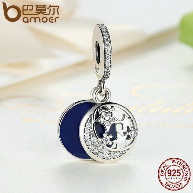 Sterling Silver Blue Round Pendant Moon & STARS Charm