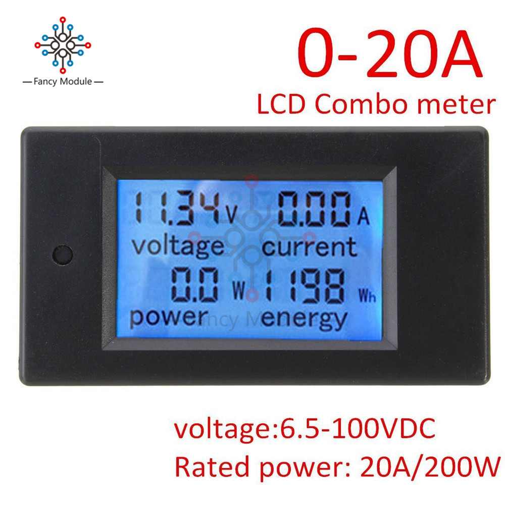 DC 6.5~100V 0~20A 4 in 1 Digital Voltage Current Power Energy Meter Large LCD Screen DC Voltmeter Ammeter цена