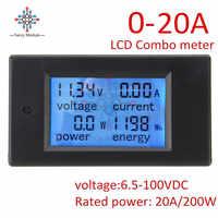 DC 6.5~100V 0~20A 4 in 1 Digital Voltage Current Power Energy Meter Large LCD Screen DC Voltmeter Ammeter