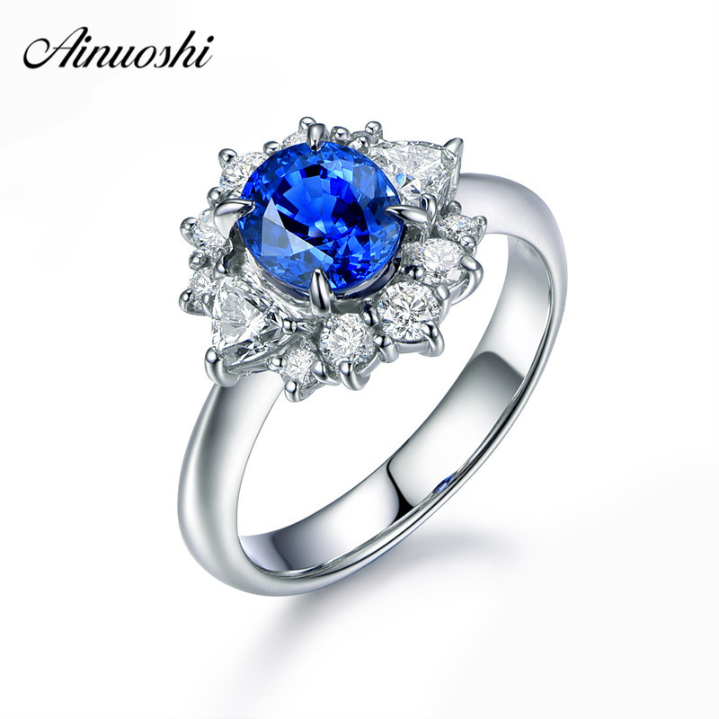 AINUOSHI 1.25 Carat Oval Cut Blue Sona Bridal Halo Rings 925 Sterling Silver Flower Women Rings Wedding Engagement Jewelry Gifts