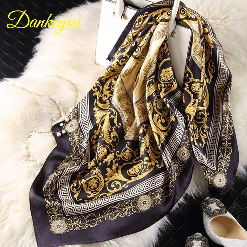 [DANKEYISI] Brand Designer Summer Scarves Women 100% Silk Scarf Luxury Brand Scarves Shawl Hijab Big Square Scarves 90*90cm scarves to crochet