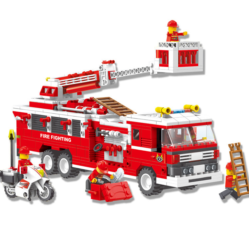 KAZI City Fire Emergency Truck Building Block Sets Bricks Action Model Collection DIY Toys For Children Safe Education banbao 8313 290pcs fire fighting ladder truck building block sets educational diy bricks toys christmas kids gift