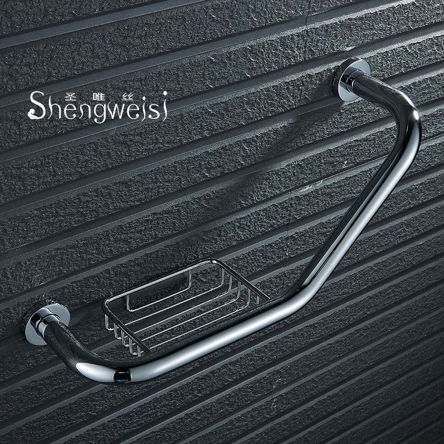 Shengweisi Wall Mount Brass Bathroom Bathtub Handrail With Soap Dish Grab Bars Disability Aid Safety Helping Handle Chroming jade luxury bathroom soap rack rose gold copper soap net european style bathroom glass marble soap dish