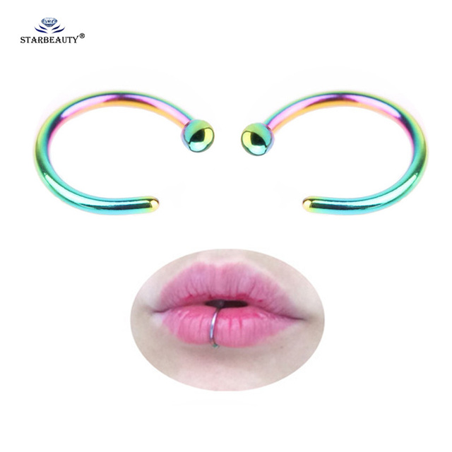 Starbeauty 2pcs Lot Ball End Fake Lip Ring C Clip Nose 0 8mm