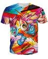 Nueva moda 2015 verano hombres / mujeres Dragon Ball Z Goku camisetas de impresión gráfica 3D camiseta divertida camiseta camisas