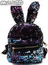 Miwind-F Цвет пайетки игривый милыми ушками рюкзак, модные новые женские школа дорожная сумка, Дамы известные бренды Mochila