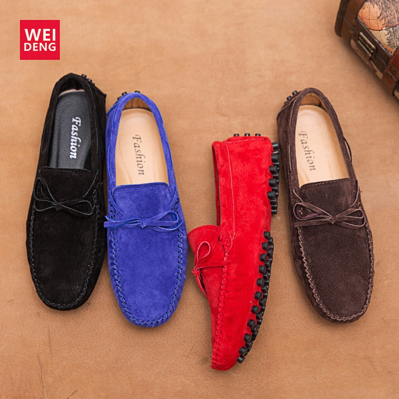 Get-in Men Suede Leather Loafers Driving Shoes Moccasins Summer Mens Casual Shoes Flat Breathable Flats,Fabric Blue,11,Italy