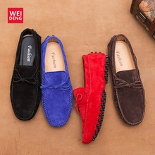 WeiDeng Men Casual Shoes Leather Loafers Man Flats Lace Up Comfortable Breathable  Shoes Driving Oxfords Shoes Moccasins Fashion цена