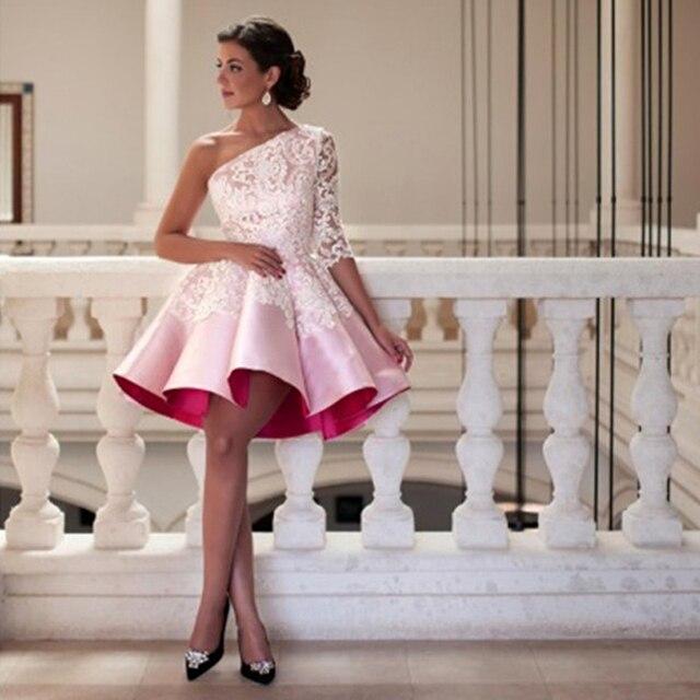 902f0761215 Новые Кружево 3 4 рукавом Baby Pink Вечерние платья 2016 халат де коктейль  на одно