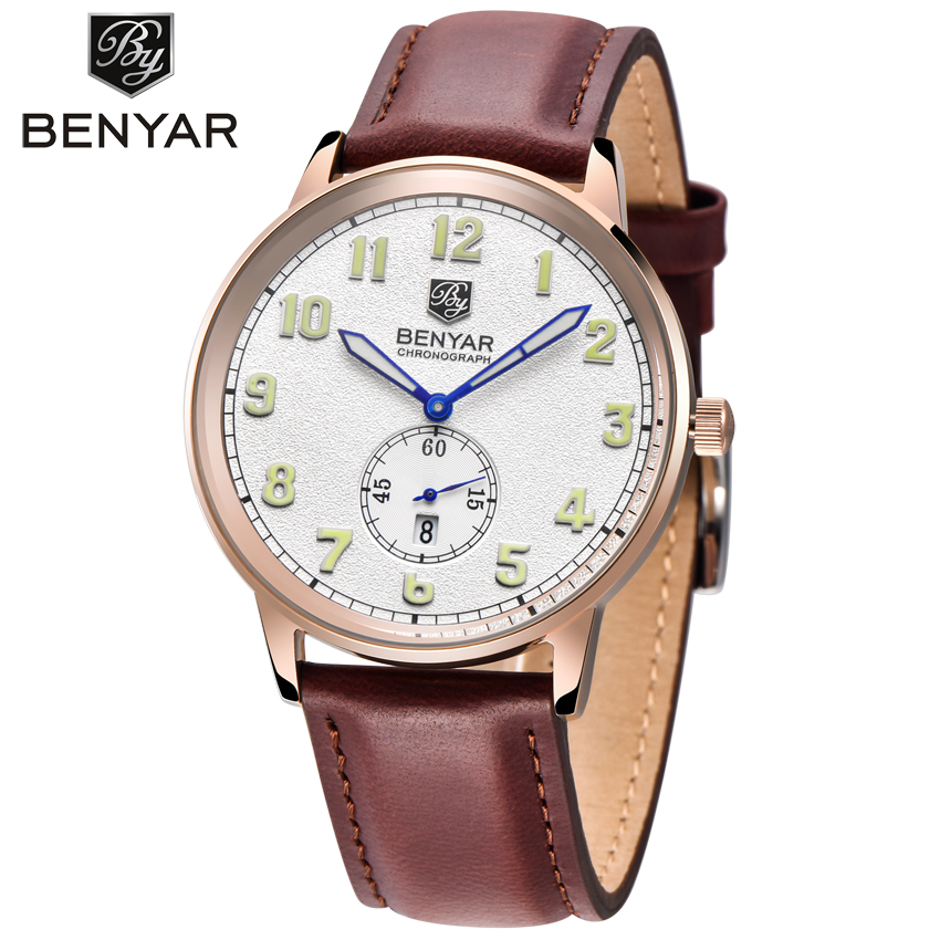 Hot Famous Brand BENYAR Men Watches Top Brand Luxury Business Quartz-watch Clock Leather Strap Male Wristwatch reloj hombre 2017 hot design leather strap watch elegant quartz wristwatch men women clock black