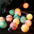 20/40 Romantic Balls/pcs Vintage/sweet Pastel tone/pure white Cotton Ball String Fairy lights Party home Patio wedding Xmas use