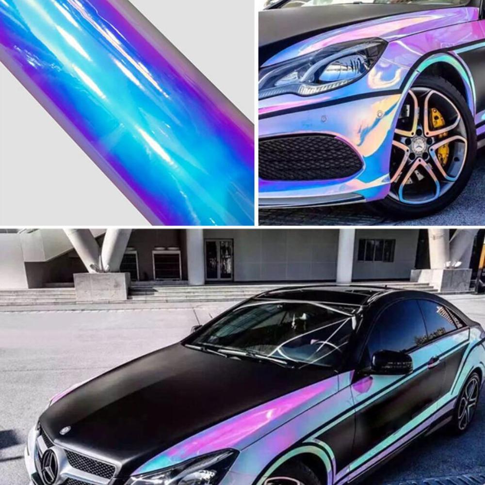 Blanc holographique arc-en-ciel Chrome housse de voiture en vinyle Air bulle libre autocollants décor auto-adhésif étanche lettrage Film 1.38x8 m