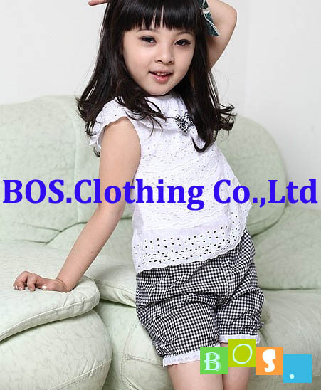 2b19c487e8 Bosudhsou YL-34 Fille Vêtements Ensemble T-shirt short Treillis Pantalon 2  Couleur Enfants Vêtements Infantile Vêtement Ensemble Dentelle Enfants