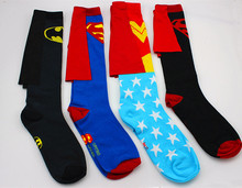 DC Superman Batman The Flash Wonder Woman knee high long Socks summer style cotton weed socks party cosplay socks(China)