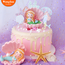 New Mermaid Cake Topper Party Decoration Kids Favors Boy&girl Baby Shower Happy Birthday Supplies